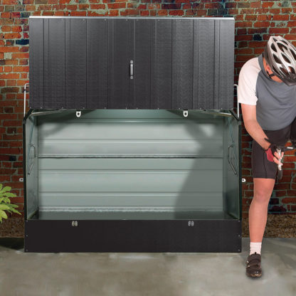 Open Bikebox with cyclist beside