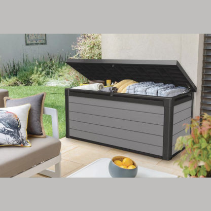 Keter Deck Storage Box in use