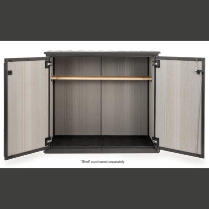 Keter Patio Store with Shelf Doors Open front on