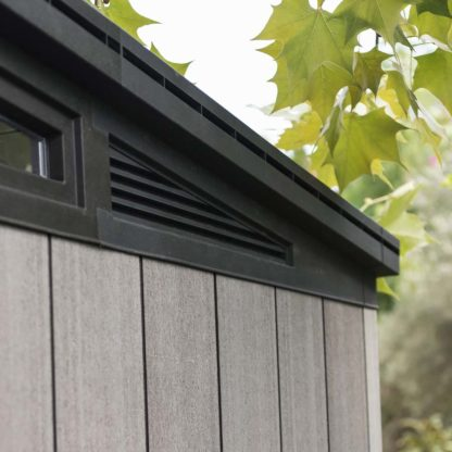Back corner shot of Keter shed detail