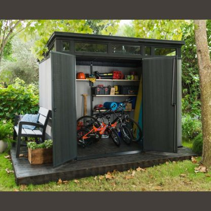 Garden shed with doors open