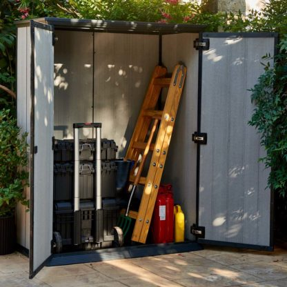 Open garden tool shed