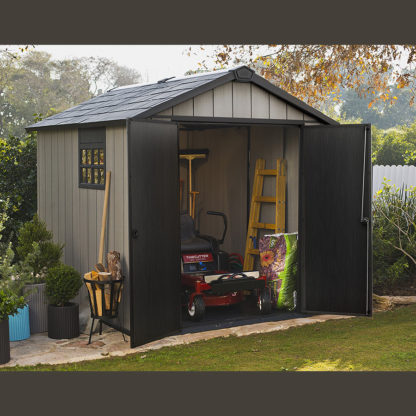 Keter Oakland 759 Shed with both doors open